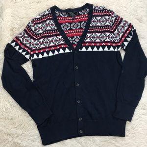 21 Men Navy Blue & Red Cardigan Sweater